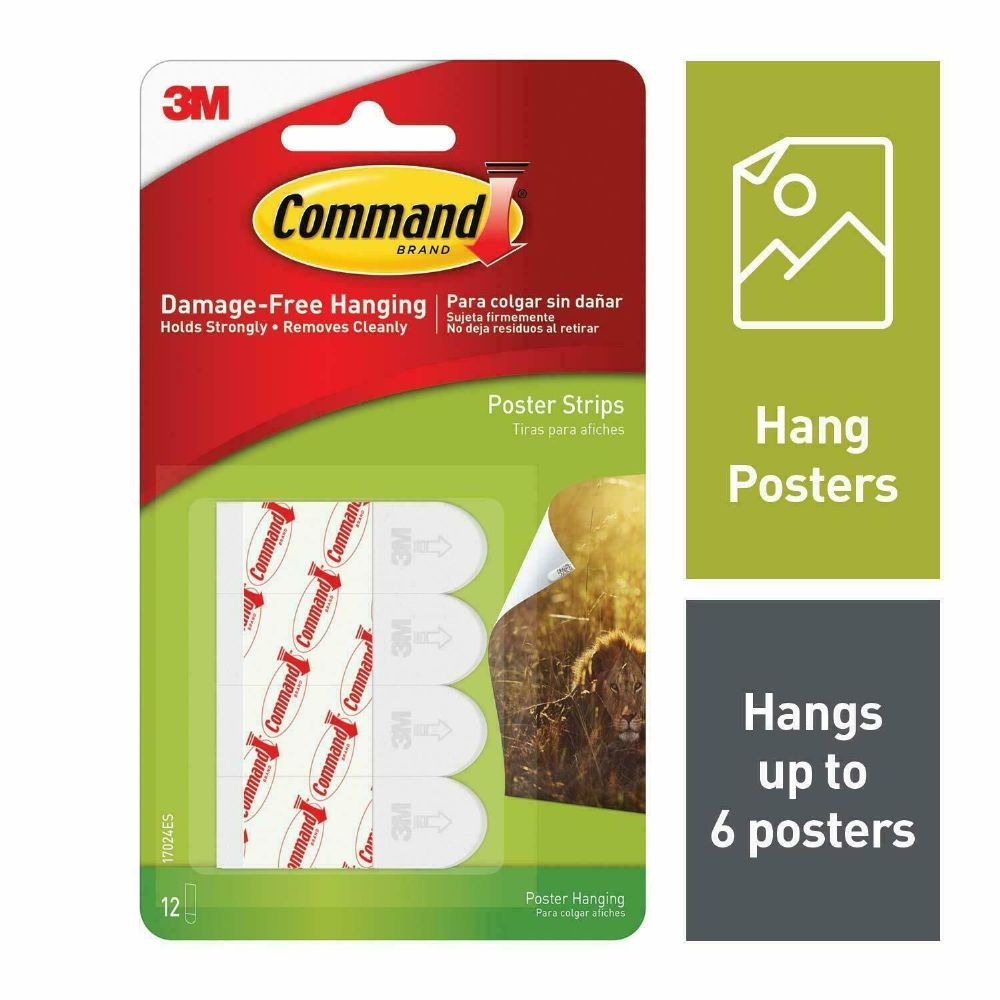 3M Command™ Stick On Self Adhesive White Poster Hanging Strips Damage Free